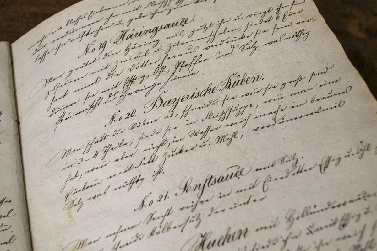 Handgeschriebenes Kochbuch 1848 – Bayerischer Rübentauch
